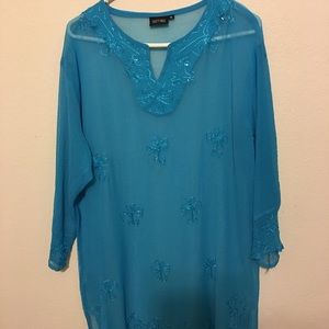 Tops - Shear blouse blue with imbroidery long sleeve